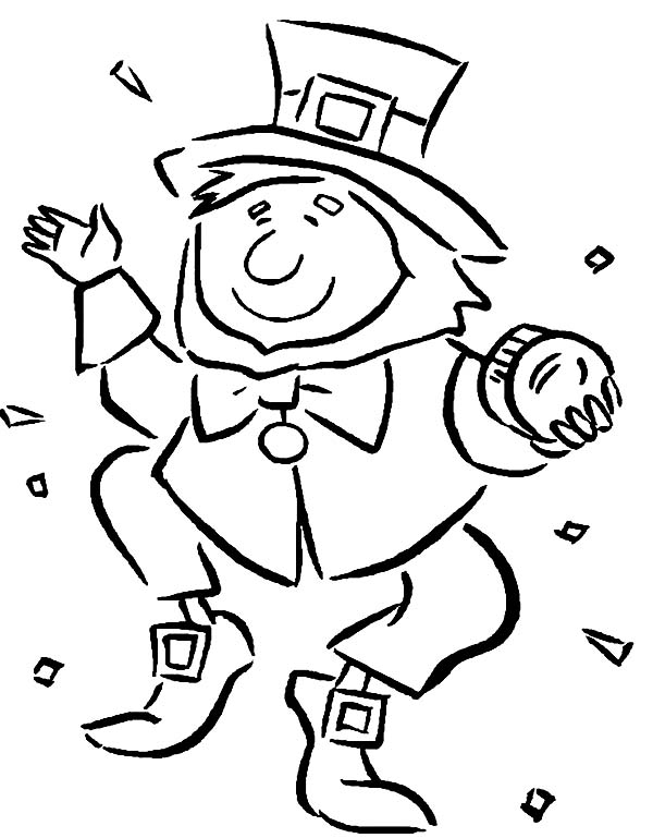 Leprechaun, : A Leprechaun Dancing Happily During St Patricks Day Coloring Page