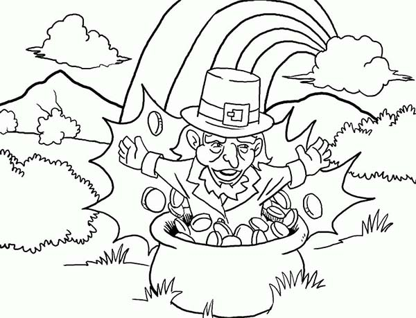 Leprechaun, : A Leprechaun Pop Up from the Pot of Gold Coloring Page