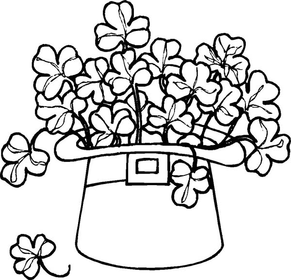 Leprechaun, : A Leprechauns Hat Full of Shamrocks Coloring Page