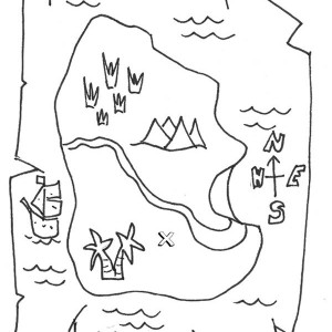 a piece paper of treasure map coloring page