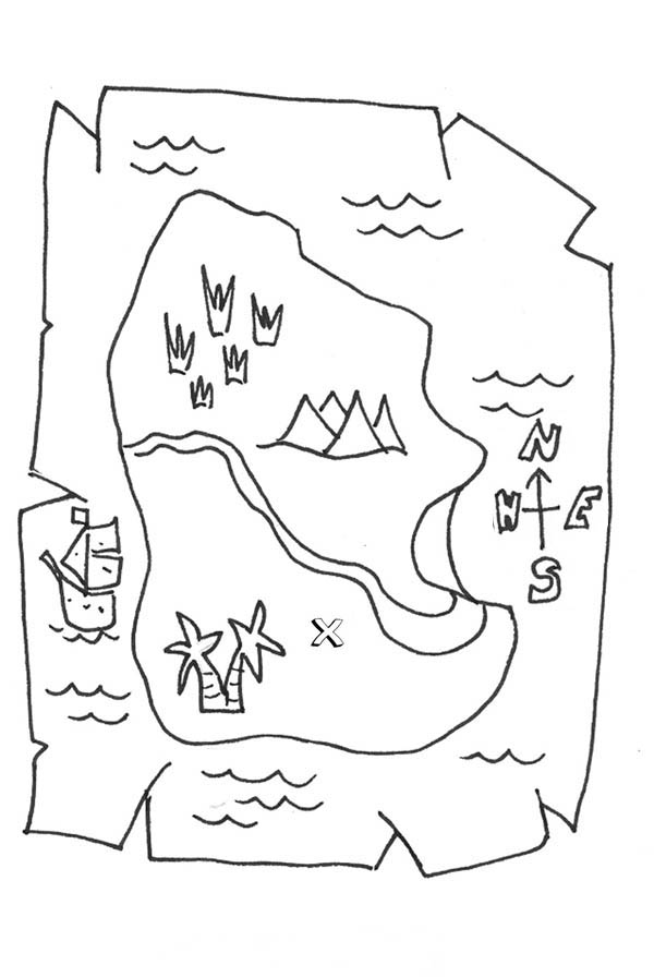 Treasure Map, : A Piece Paper of Treasure Map Coloring Page