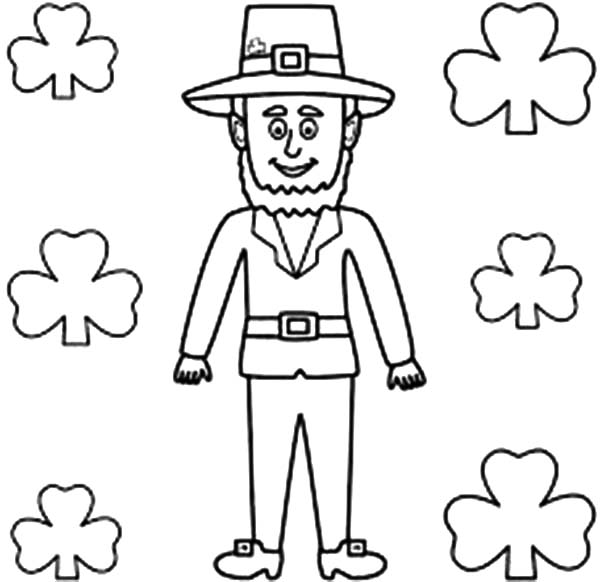Leprechaun, : A Tall Leprechaun In Front of Wall Full of Shamrocks Coloring Page