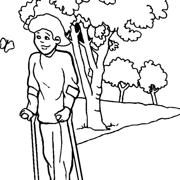 Disability, : A Woman Crippled Walk Using Both the Wand in Disability Coloring Page
