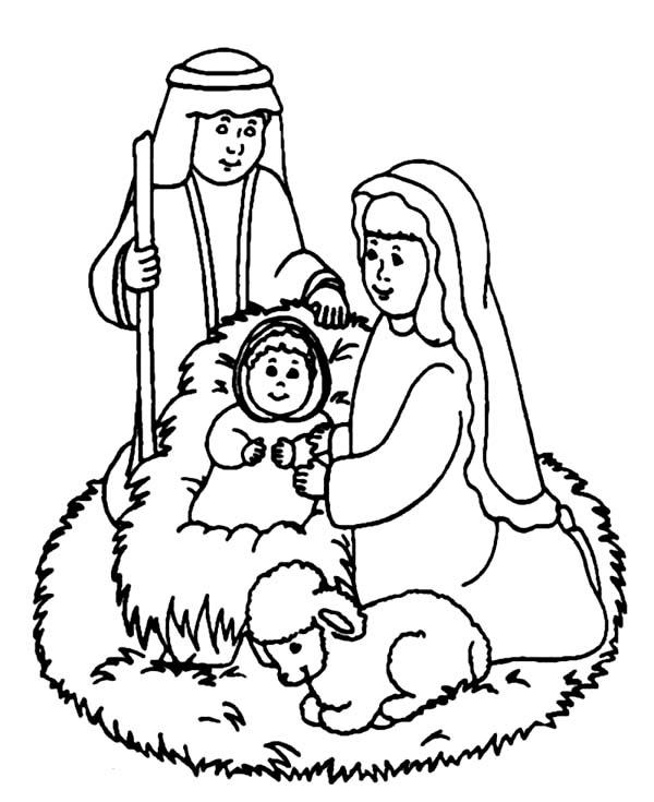 Baby Jesus, : Adore Baby Jesus Coloring Page