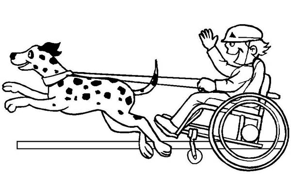 Disability, : Amazing Disability Boy Participate on Dog Race Coloring Page