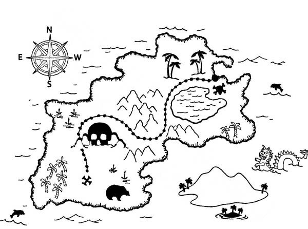 Treasure Map, : Amazing Treasure Map Coloring Page