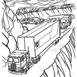 autobots march on the road in transformers coloring page