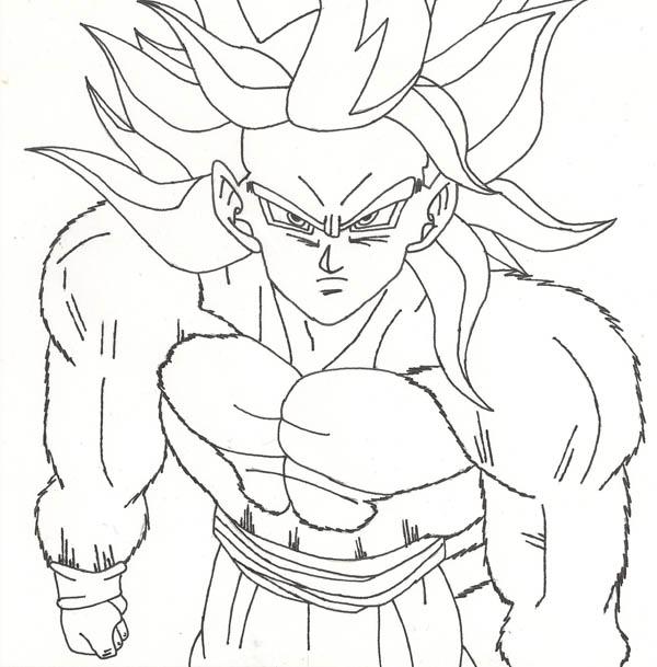 Dragon Ball Z Goku Super Saiyan 4 - Coloring Pages For Kids And ... | 609x600