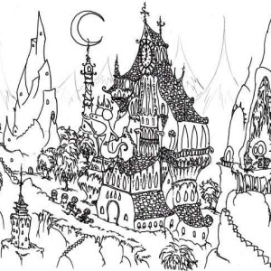 awesome haunted house coloring page