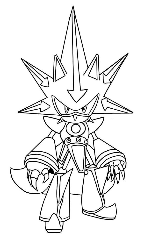 Sonic the Hedgehog, : Awesome Metal Sonic Coloring Page