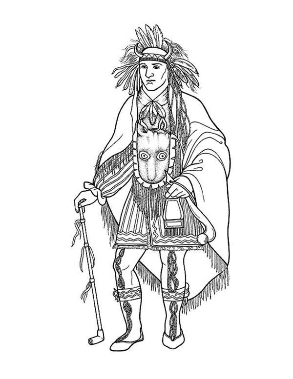 awesome native american chief poster coloring page