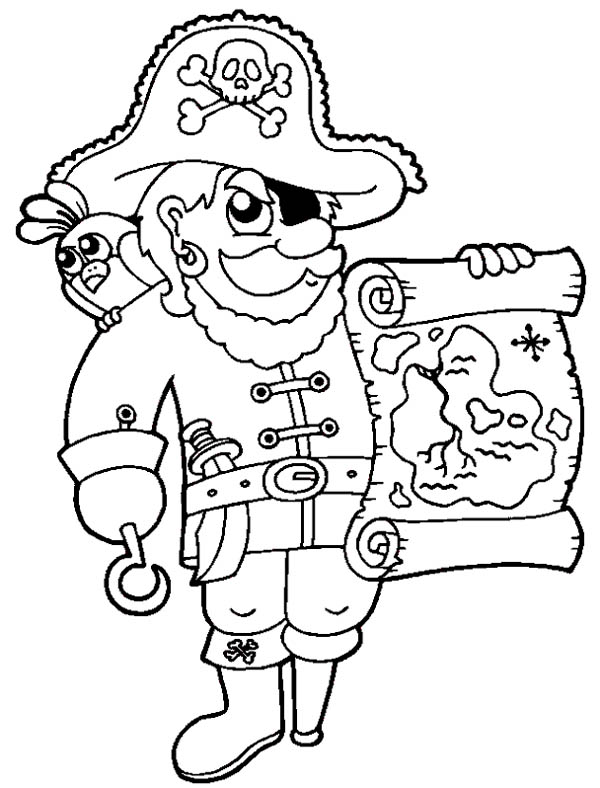 Treasure Map, : Awesome Pirate with Treasure Map Coloring Page