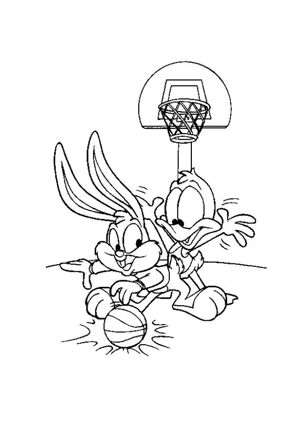 Baby Looney Tunes, : Baby Baby Bugs and Baby Daffy Playing Basketball in Baby Looney Tunes Coloring Page