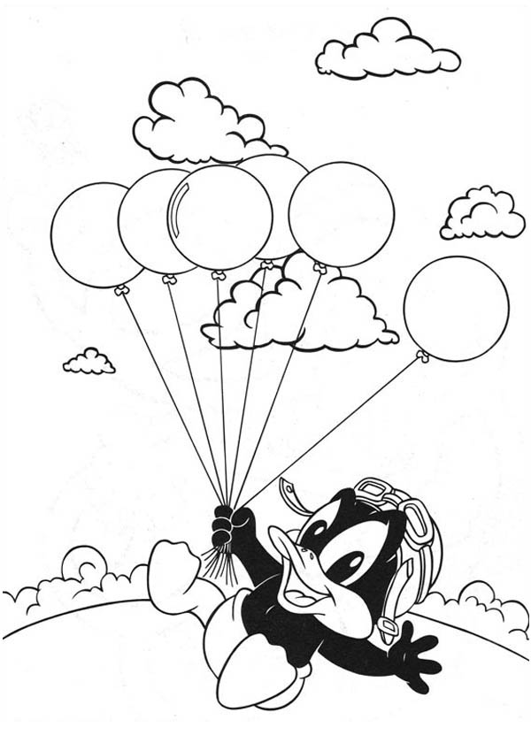 Baby Looney Tunes, : Baby Daffy and Bunch of Baloon in Baby Looney Tunes Coloring Page