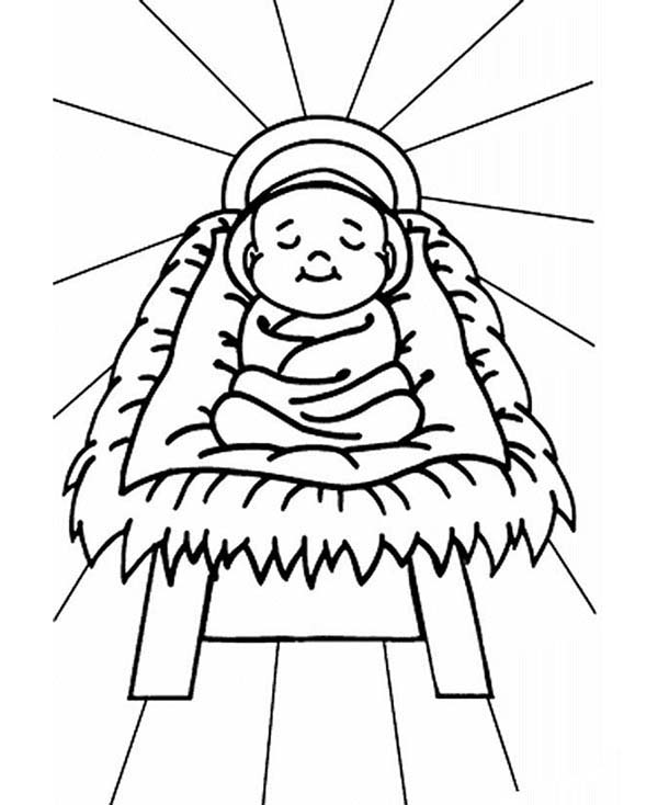 Baby Jesus, : Baby Jesus Sleep in a Manger Coloring Page