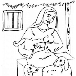 baby jesus and mary and two shep coloring page