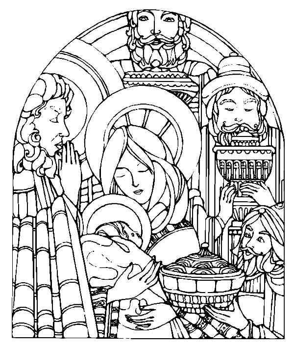 Baby Jesus, : Baby Jesus and Three Kings Coloring Page