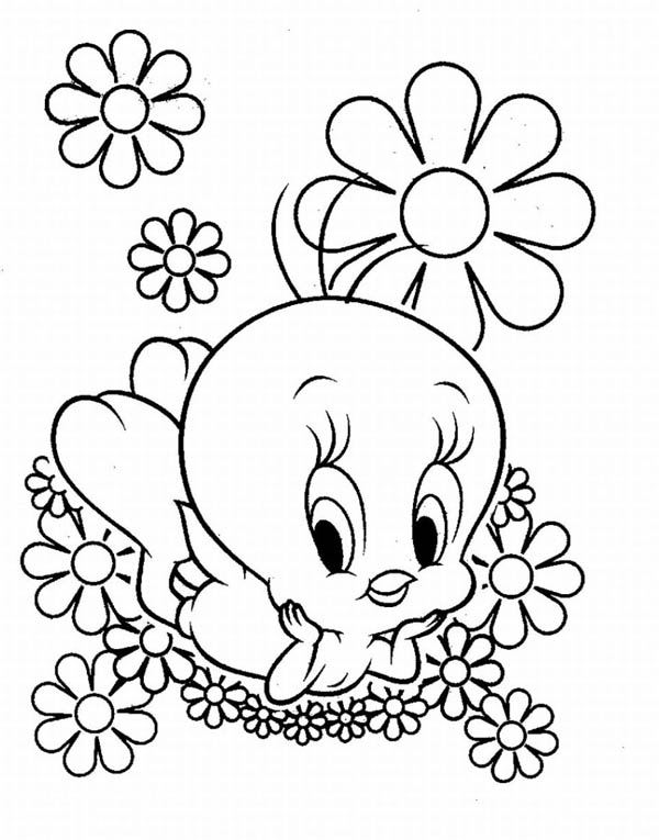 Baby Looney Tunes, : Baby Tweety and Flowers in Baby Looney Tunes Coloring Page