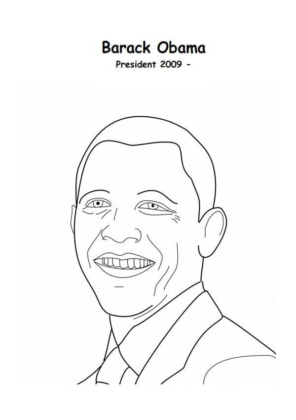 Barack Obama, : Barack Obama 2009 President of America Coloring Page