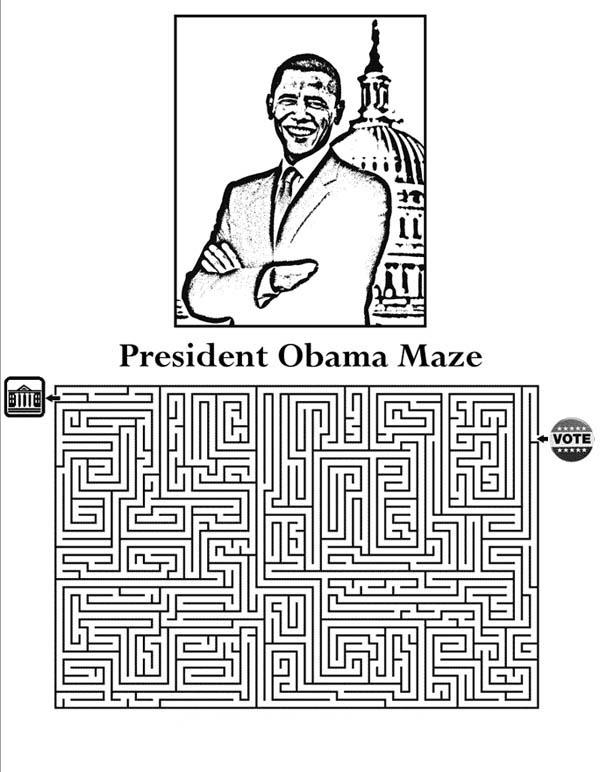 Barack Obama, : Barack Obama Maze Coloring Page