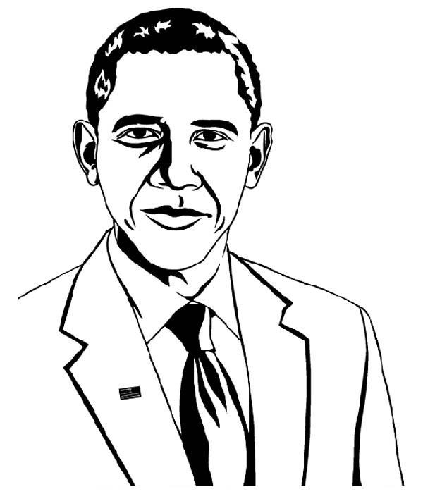 Barack Obama, : Barack Obama Picture Coloring Page