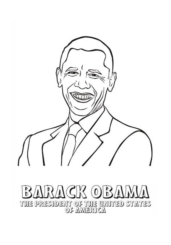 Barack Obama, : Barack Obama President of The United States of America Coloring Page