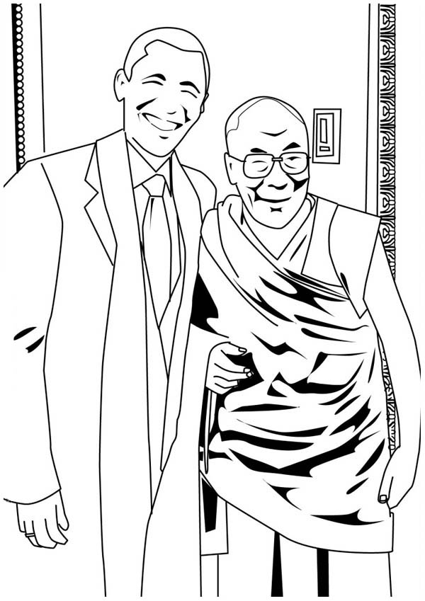 Barack Obama, : Barack Obama and Dalai Lama Coloring Page