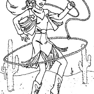 beautiful cowgirl with lasso coloring page - Cowboy Cowgirl Coloring Pages