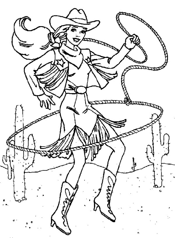 Beautiful Cowgirl with Lasso Coloring Page : Kids Play Color