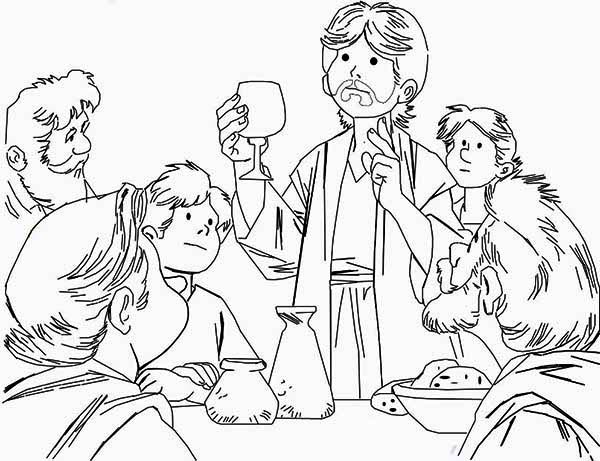 Last Supper, : Beautiful Drawing of the Last Supper Coloring Page