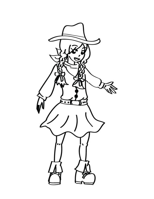 beautiful little cowgirl coloring page