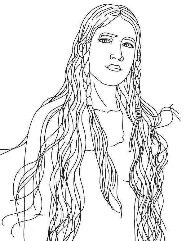 beautiful native american girl coloring page