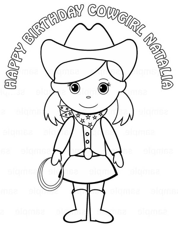 Cowgirl, : Birthday Cowgirl Coloring Page