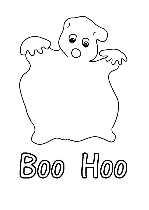 Ghost, : Boo Hoo-ing Ghost Coloring Page