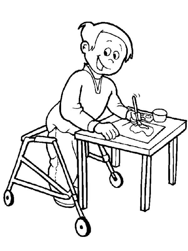 Disability, : Boy with Disability is Painting on Coloring Page
