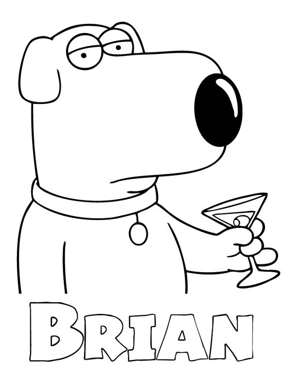 Family Guy, : Brian Griffin Drinks in Family Guy Coloring Page