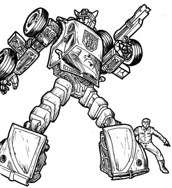 Colouring In Sheets Transformers : Bumblebee protecting his friend in transformers coloring page