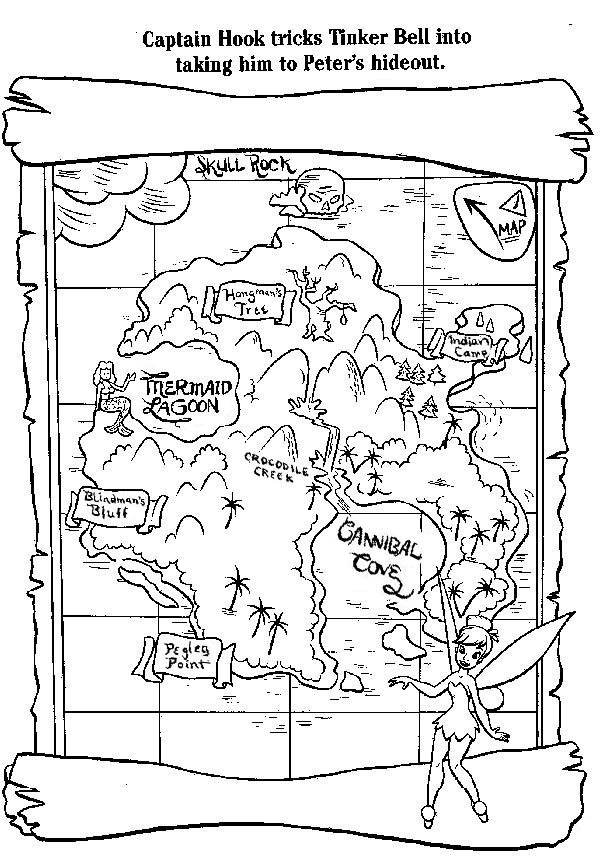 Treasure Map, : Captain Hook Treasure Map Coloring Page