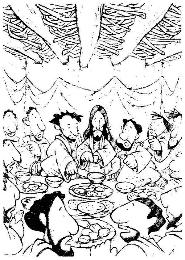 Last Supper, : Cartoon Depiction of the Last Supper Coloring Page