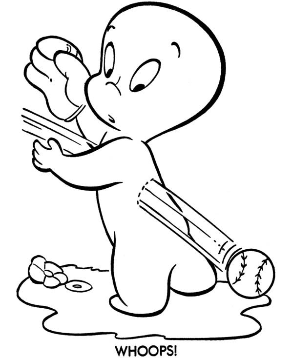 Ghost, : Casper the Friendly Ghost Playing Catch Coloring Page