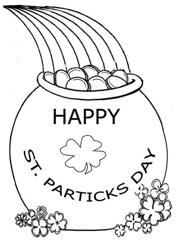 St Patricks Day, : Celebrating St Patricks Day with a Pot of Gold Coloring Page
