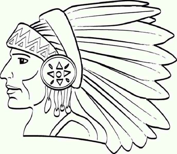 Native American, : Chief Native American Apache Tribe Coloring Page