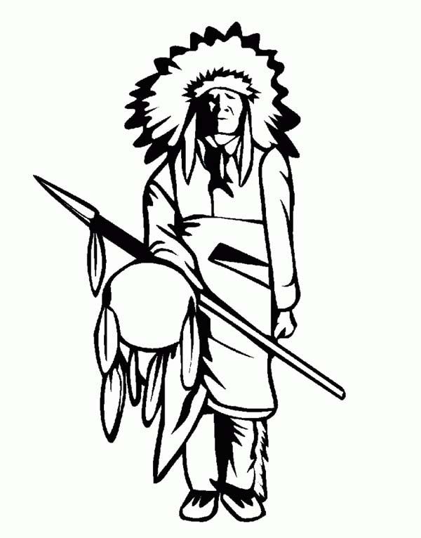 Native American, : Chief of Native American Tribe Coloring Page