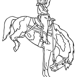 cowgirl doing rodeo coloring page