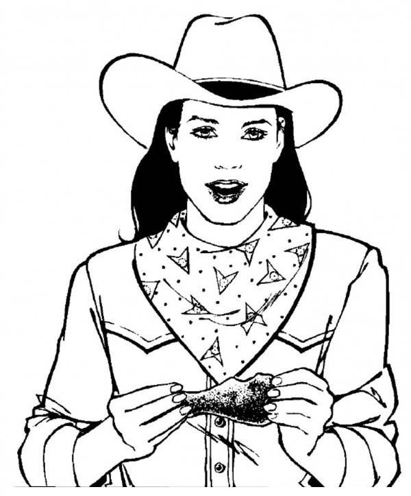 Cowgirl, : Cowgirl Eating Chicken Coloring Page