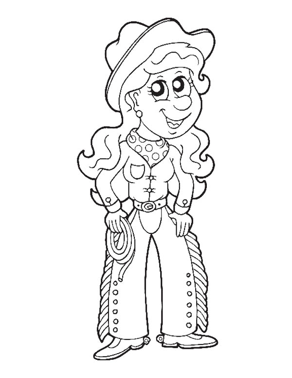 Cowgirl, : Cowgirl Picture Coloring Page