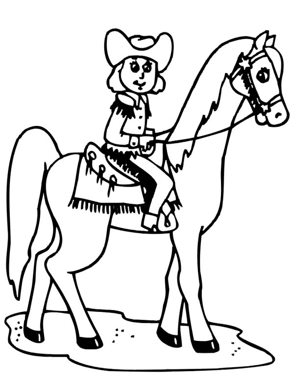 Cowgirl, : Cowgirl Riding a Horse Coloring Page