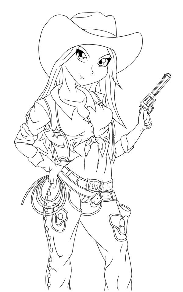 Cowgirl, : Cute Cowgirl Outfit Coloring Page