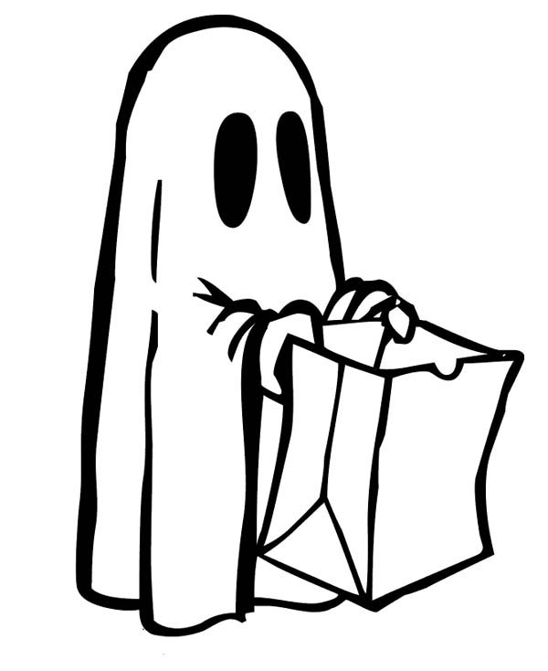 Ghost, : Cute Ghost Ask for Candy Coloring Page