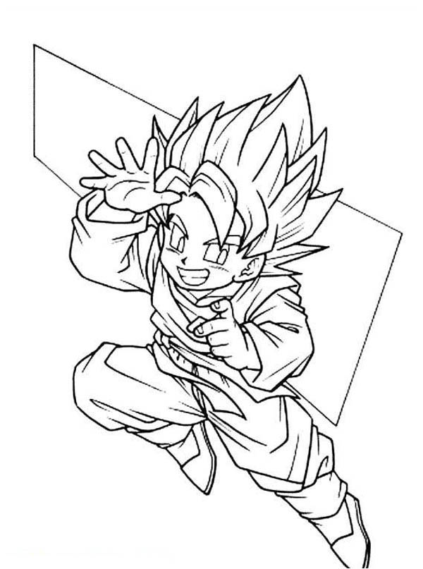 Dragon Ball Z, : Cute Goku Super Saiyan 2Form in Dragon Ball Z Coloring Page
